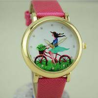 girls new round bright golden 3 d watches bike girl watches