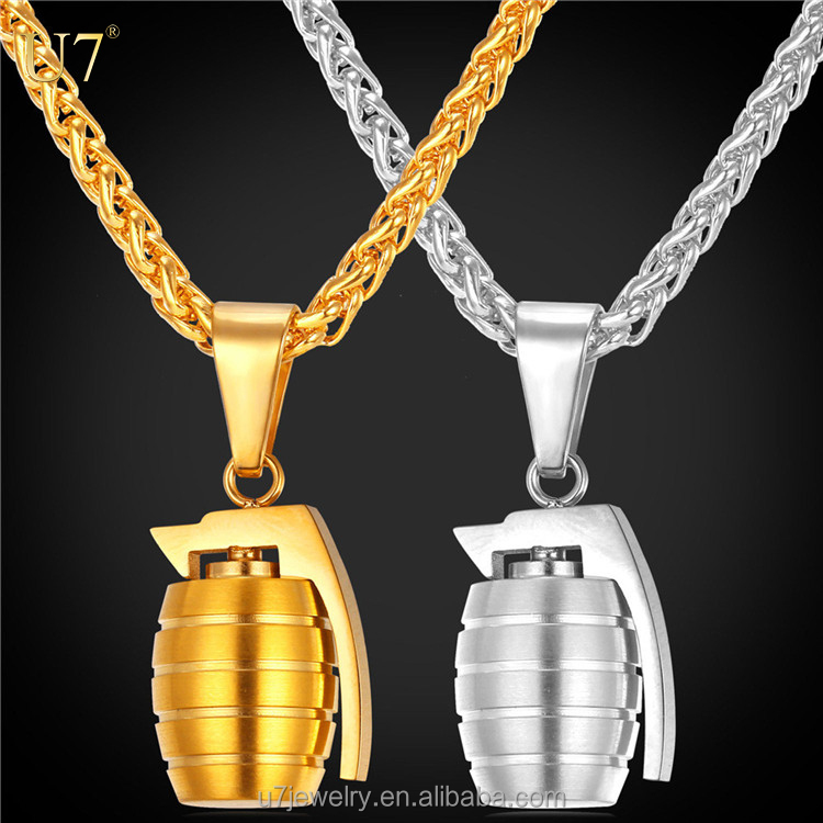 antitank hand Grenades charm necklace with Stainless Steel/Gold Plated Chain For Men