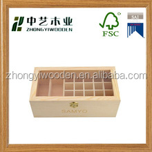 china factory FSC&SA8000 clear acrylic lid wooden tea bag storage box in packing