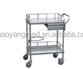 CY-D401A Stainless steel hospital crash cart medical trolley/medical dressing trolley/hospital linen trolley