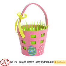 Alibaba Cheap Lovely Pink Color Felt Easter Basket with Grass Design