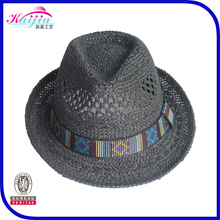 The most popular straw hat hollow carved fedora with checked print band