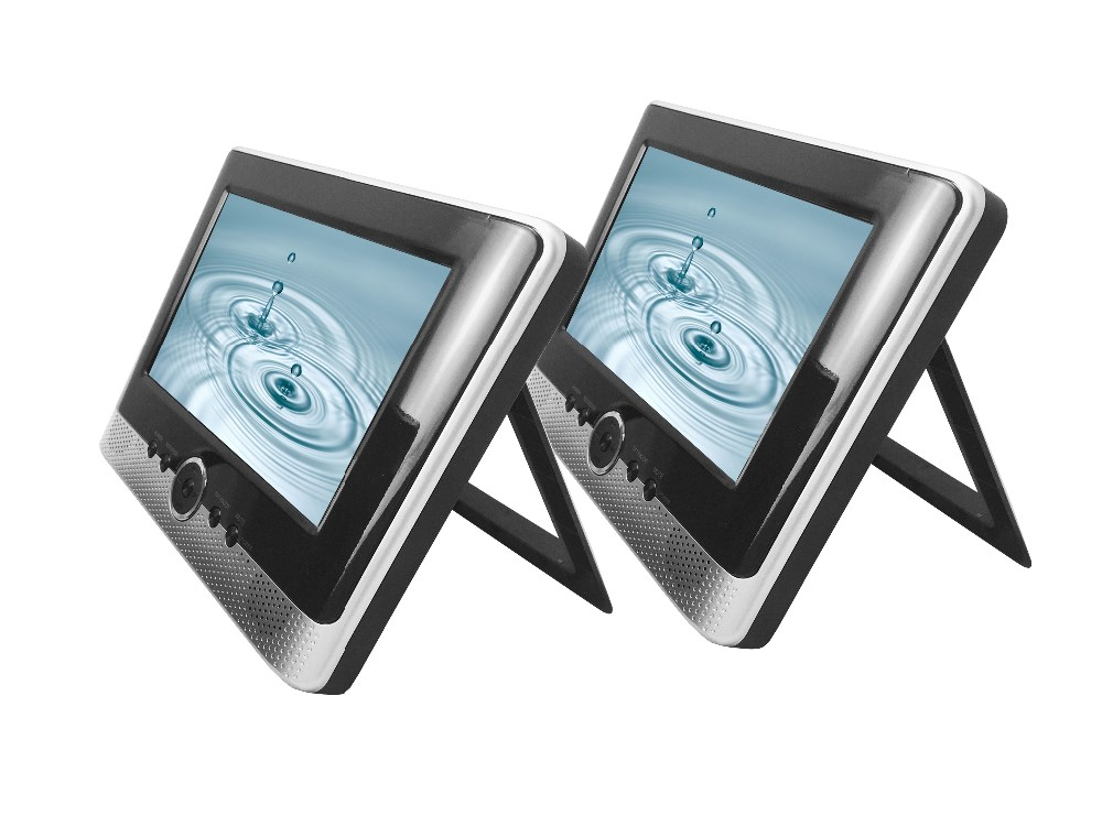 Double 7 inch Screen Portable DVD with USB,SD