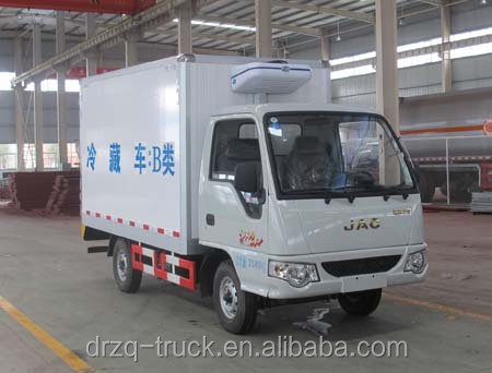 JAC Cost-effective refrigerated truck 0 ~ -18 degree Celsius Euro 4 standard box size 3100*1520*1650