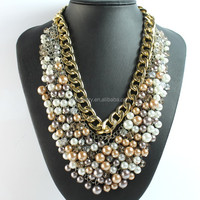 2016 Fashion pearl jewelry bead bib chunky pearl necklace