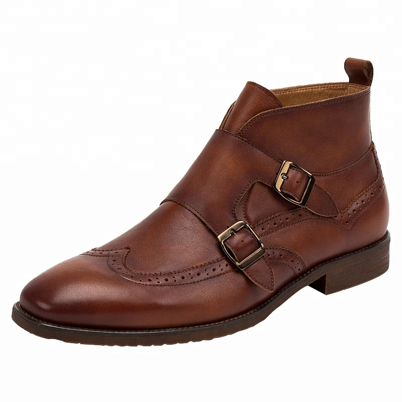 Latest design wholesale double monk strap men's genuine leather dress <strong>boots</strong> for men
