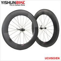 2017 YISHUNBIKE 700c road/triathlon bike 88mm tubular 350s hubs racing/training bicycle stiff & strong carbon wheel 350S-880T
