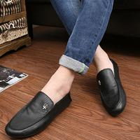 PJ1173A new pure color drive PU loafers shoes men