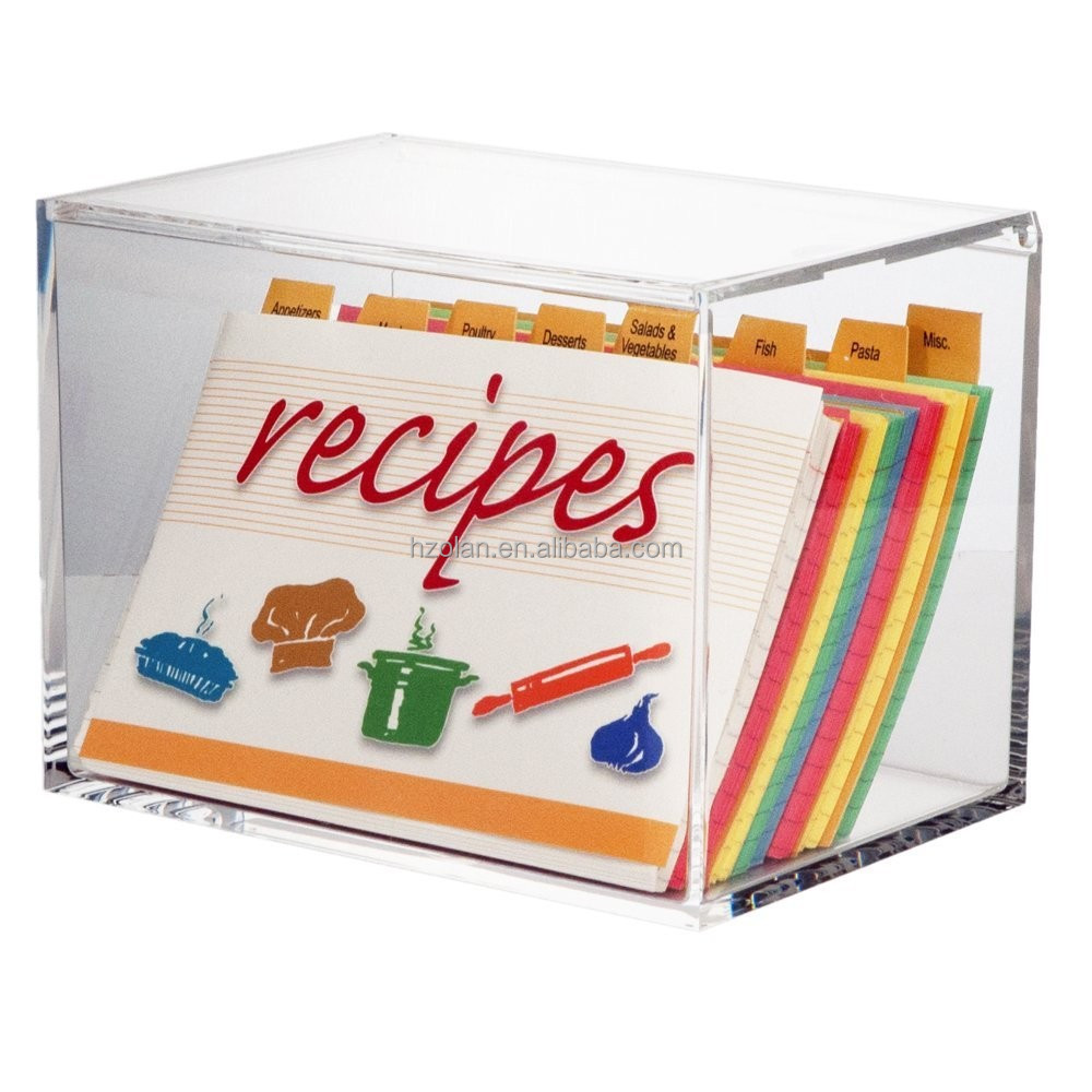 Clear Acrylic Recipe Box with 4 x 6 Index Cards