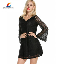 New design women's elegant lace dress summer sexy V collar Crochet Dress