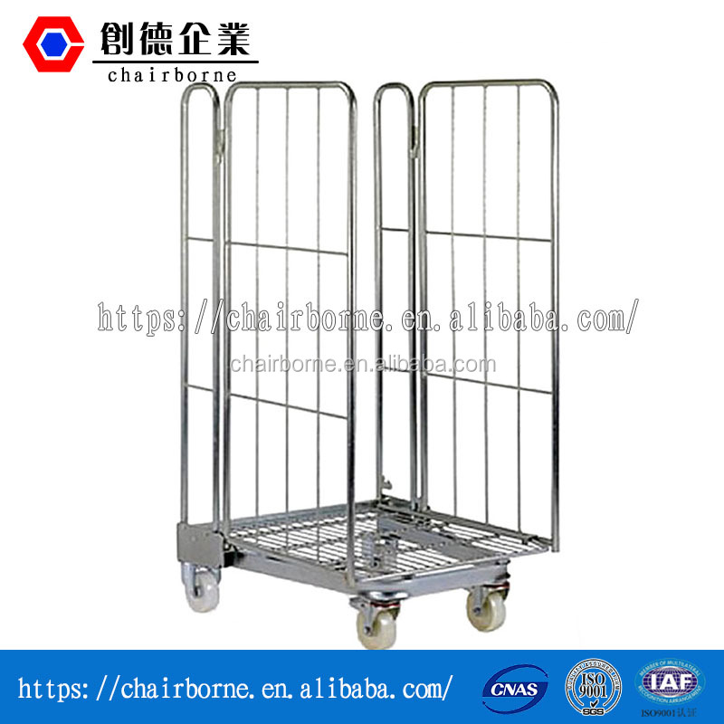 folding roll container/storage cage cart /supermarket roll cages