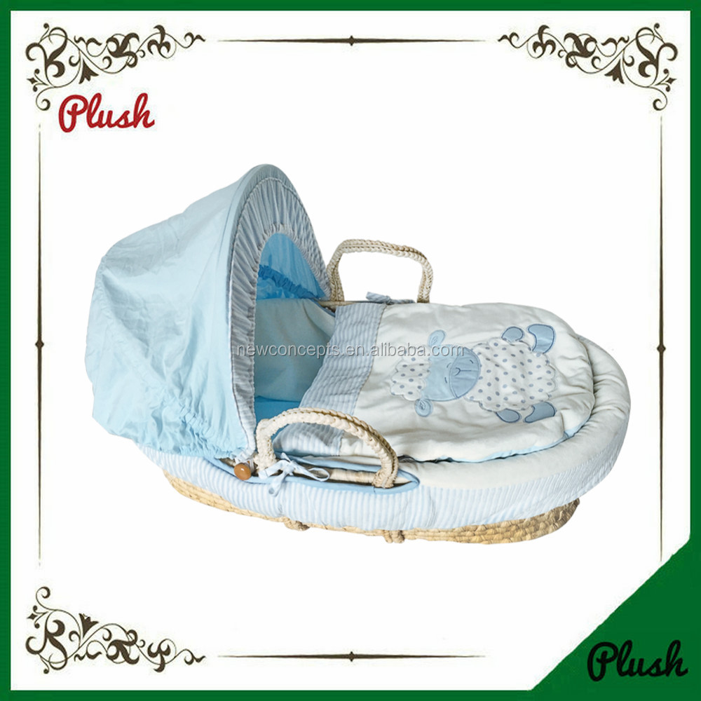 Custom handmade cheap natural material corn husk baby portable moses basket for sleeping