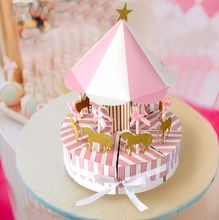 New Arrival Merry - Go - Round Birthday Party Paper Box Baby Shower Favors box
