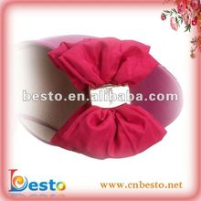 CF0056 2012 Fashion handmade pink fabric bow sandal shoe accessories
