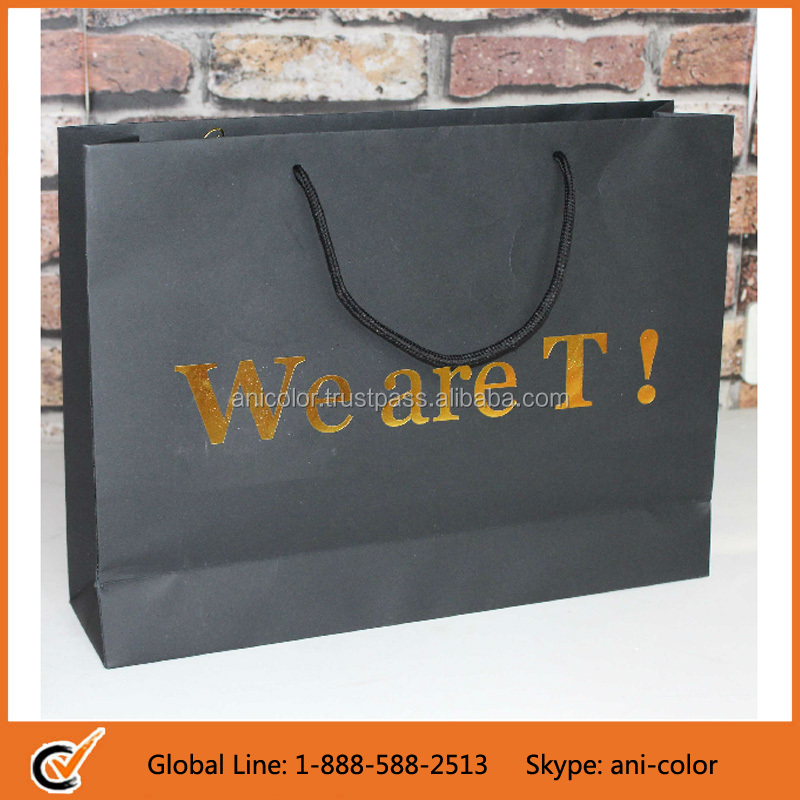 wholesale custom soap paper bag with gold foil stamp logo