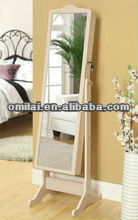 Chinese wooden mirrored white jewelry cabinet