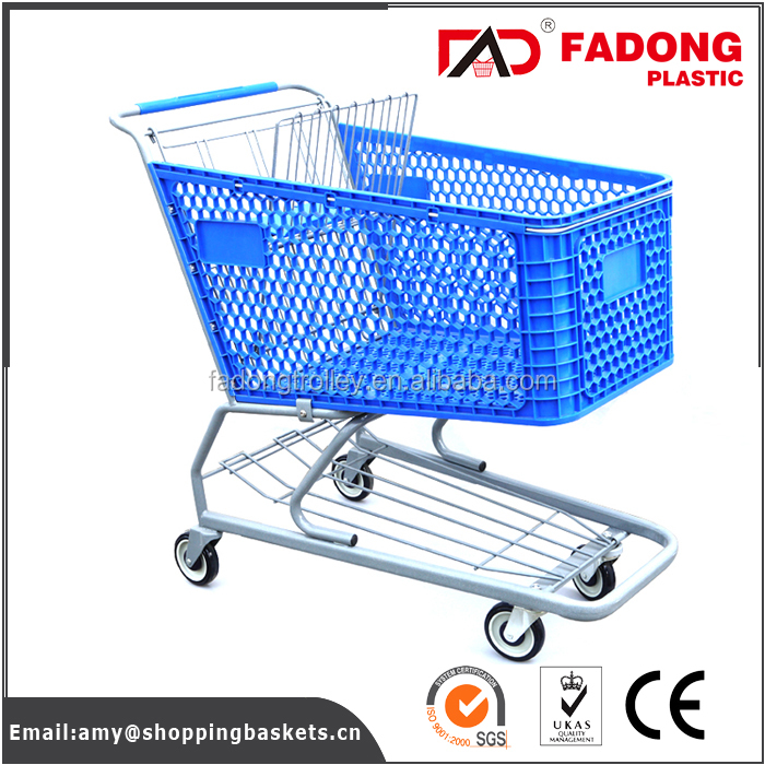 Plastic vegetable cart with metal stand