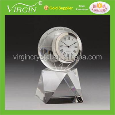 Crystal glass globe desktop clock for globe theme gifts