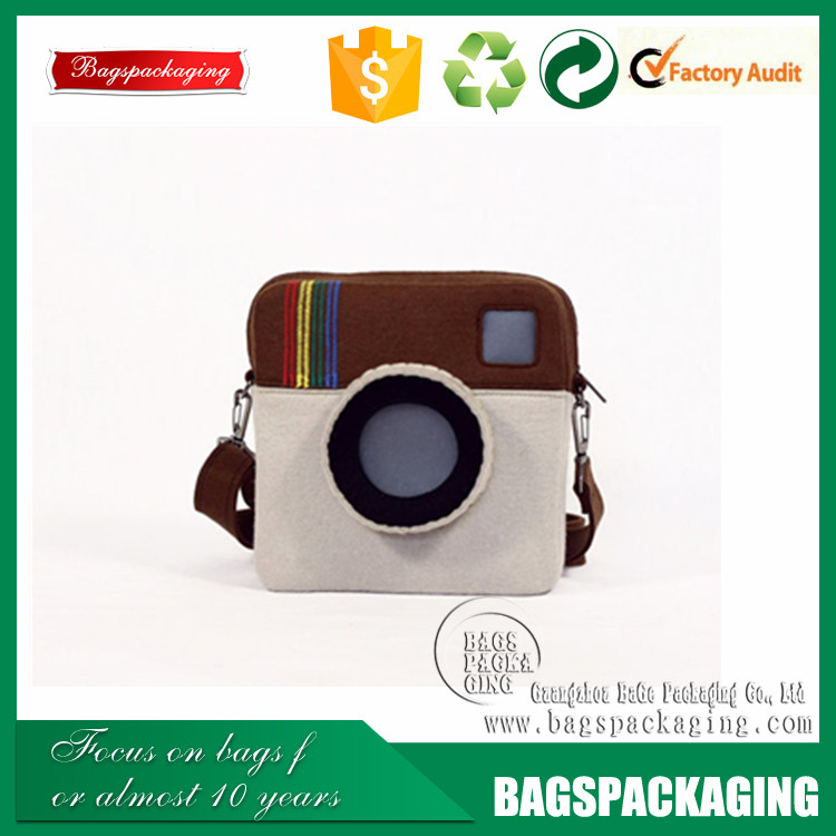 New fashional style lovely camera zipper wool felt make up bag