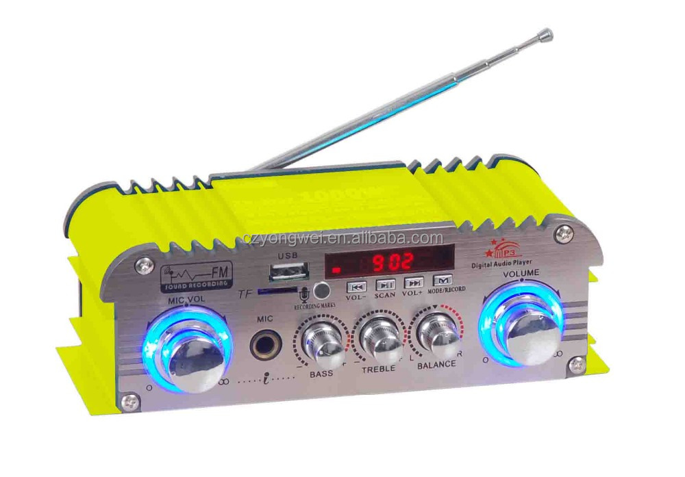 Professional stereo amplifier with USB,SD,LED light and MIC