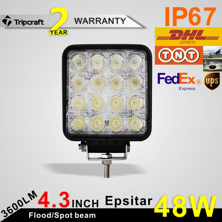 Factory price 48w heavy duty truck headlight 4 inch square led driving light for truck offroad heavy duty
