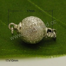 Wholesale different kinds of jewelry accessories, sterling silver box clasp in silver plating, Ball shape