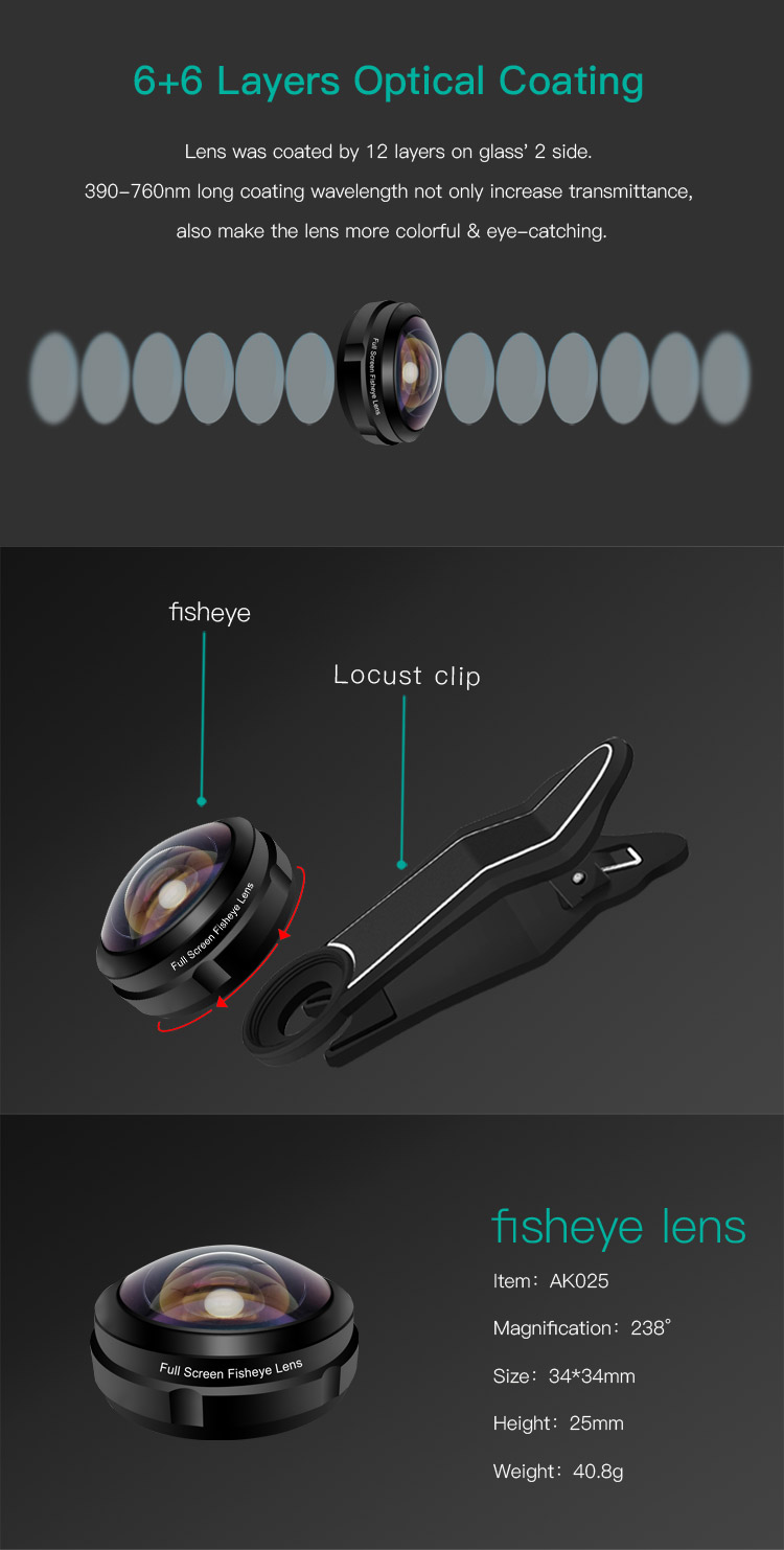 238 Degree Staccabile Super Wide Fisheye dethchable Lens Mobile Phone Digital Camera