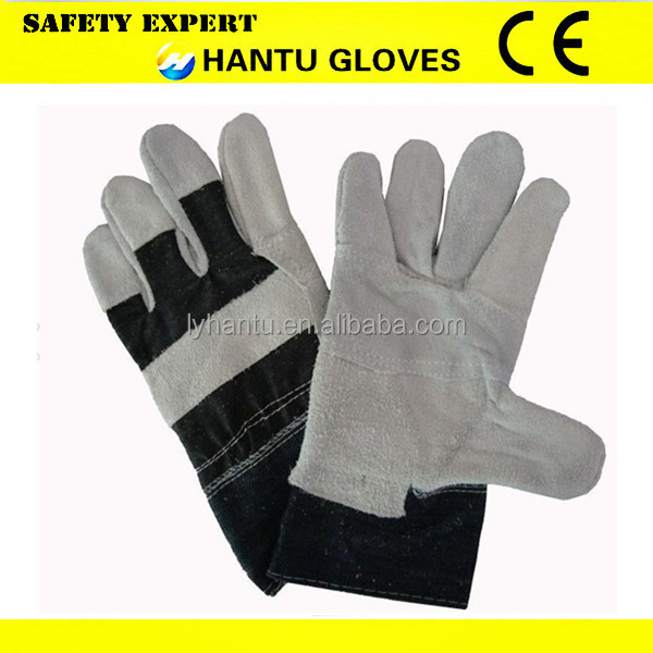 Cow Leather/Royal Gray Patched Palm Welding Gloves Industry Protective Working Safety Gloves