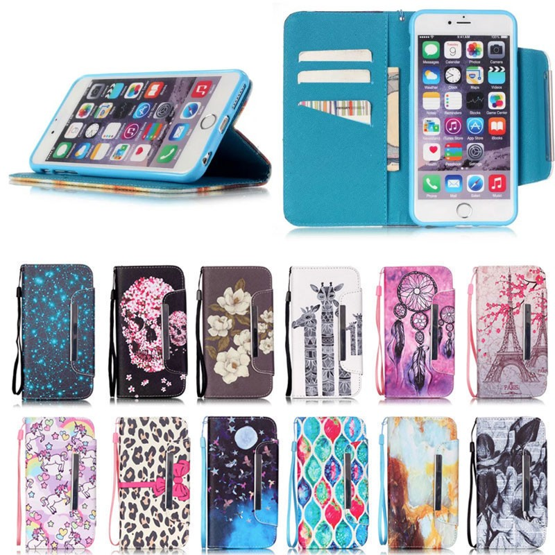 Case for iPhone se, for iPhone se Colorful Pattern Leather Wallet Case TPU Cover with string
