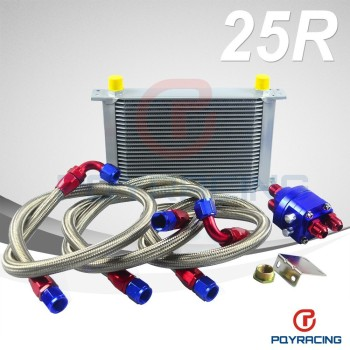 PQY STORE-UNIVERSAL 25 ROW AN10 ENGINE TRANSMISS OIL COOLER KIT +FILTER RELOCATION BLUE