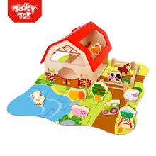 Wooden Farm Animal Toy Bebe Juguetes