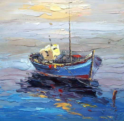 Boat on the sea Knife Oil Painting Hand Painted on Canvas Wholesaler