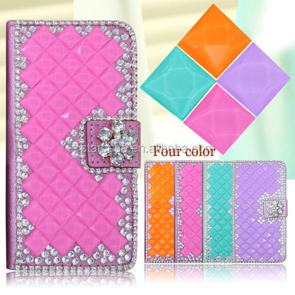 For Samsung Galaxy mini 2 S6500Case Cover Wholesale Bling Diamond Leather Case For Samsung Galaxy mini 2 S6500
