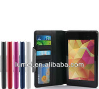Stand Folio Wallet Leather Case Cover For google nexus 7 2nd with card slots
