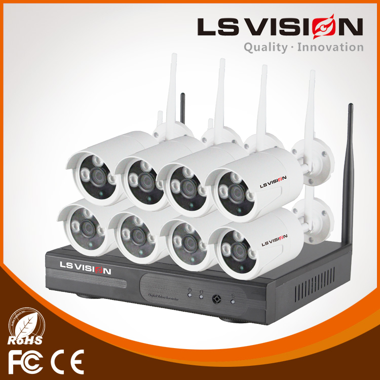 LS VISION High Quality Surveillance Camera System Wireless 8CH CCTV DVR Kit Network Camera IP