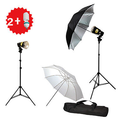 Photography Flash Strobe Lighting Umbrella Kit with Hot Shoe & Carry Case