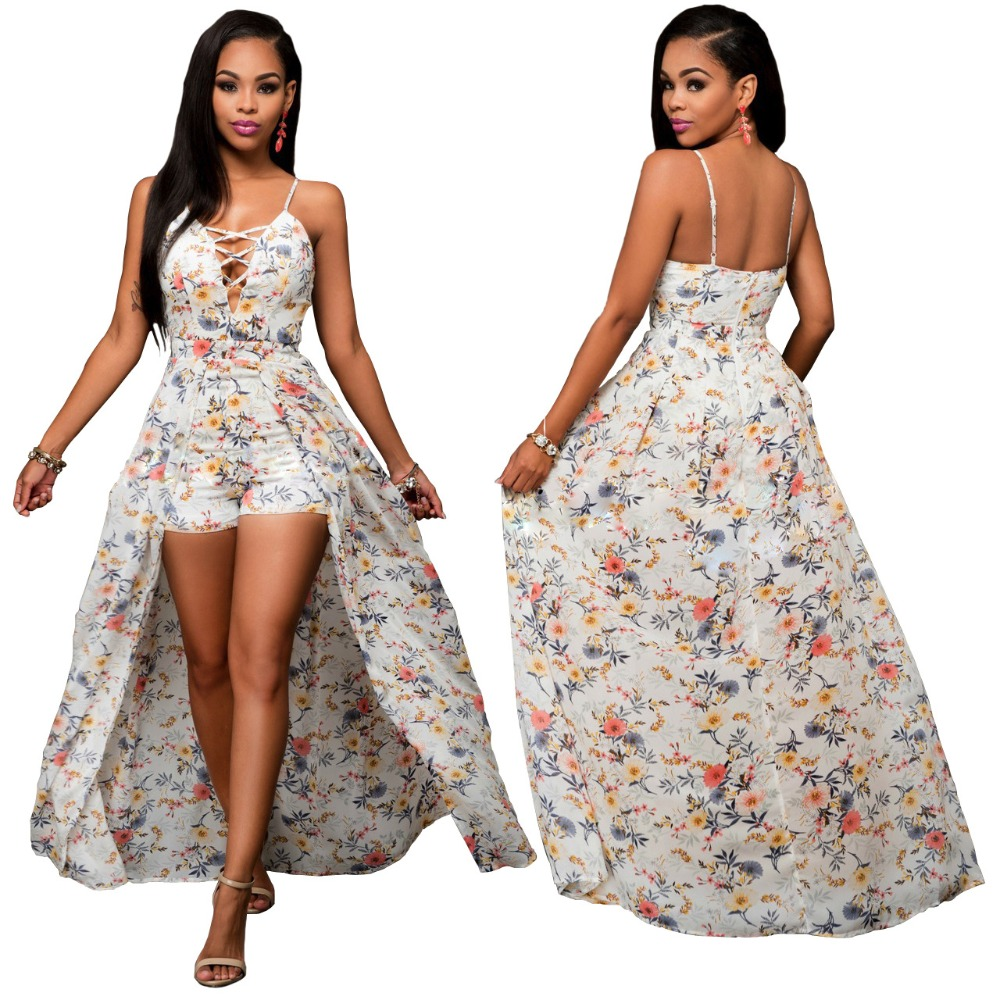 ZH0984E Sexy summer women floral print v neck beach strap long dress chiffon split maxi dress
