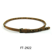 Dressy Skinny Brass Rivet Leather Belt Womens - 3/8 Inch Thin