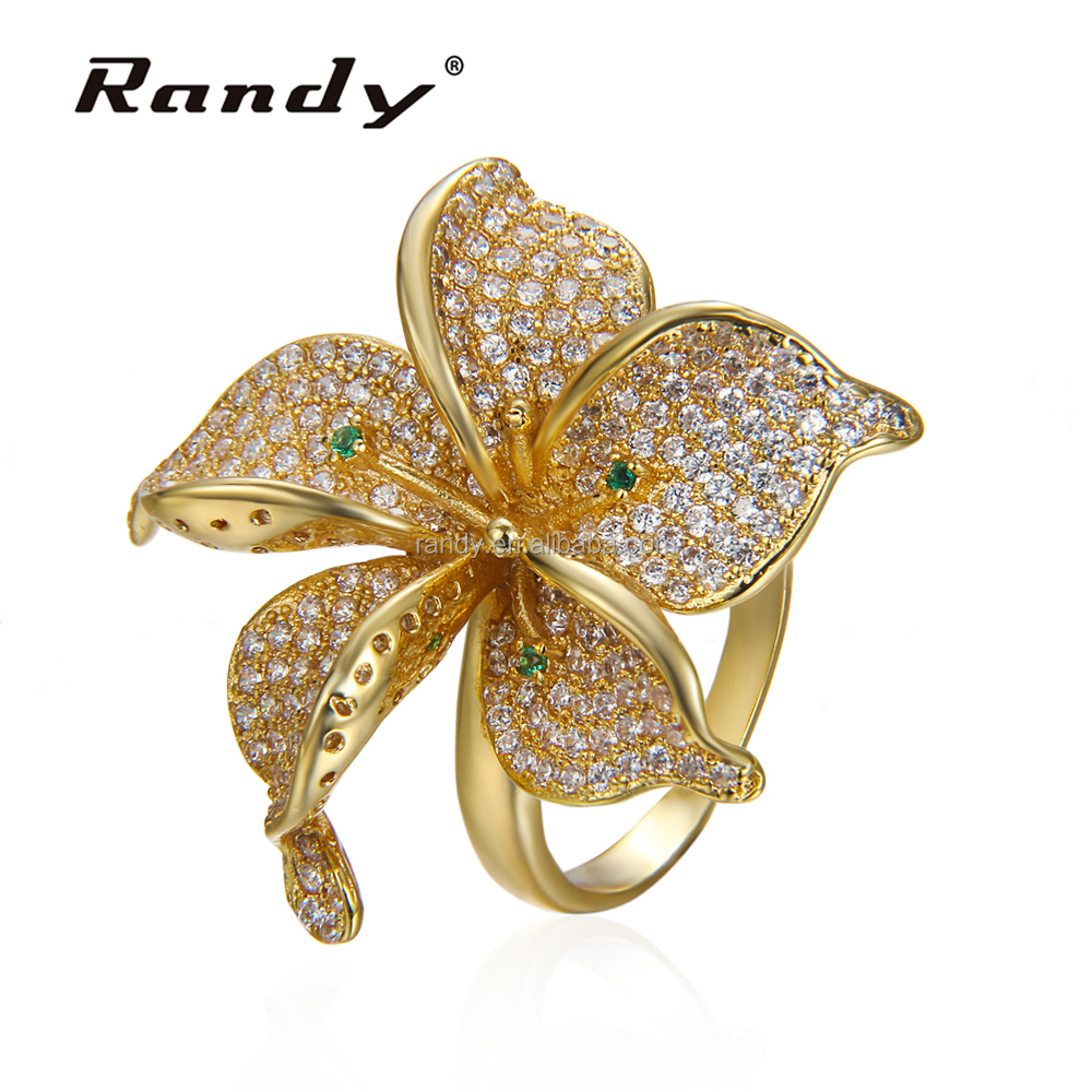 Latest Miss Rose Flower Ring Jewelry Artificial Easter Lily Flower Rings