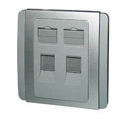 Slim Stylish 2-Port Shuttered Face Plate, 86 Type, Gloss Polycarbonate Finish, Grey Plate w. Sliver Surround
