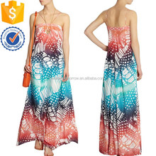 China sleeveless women sexy OEM design factory multicolored printed maxi dress