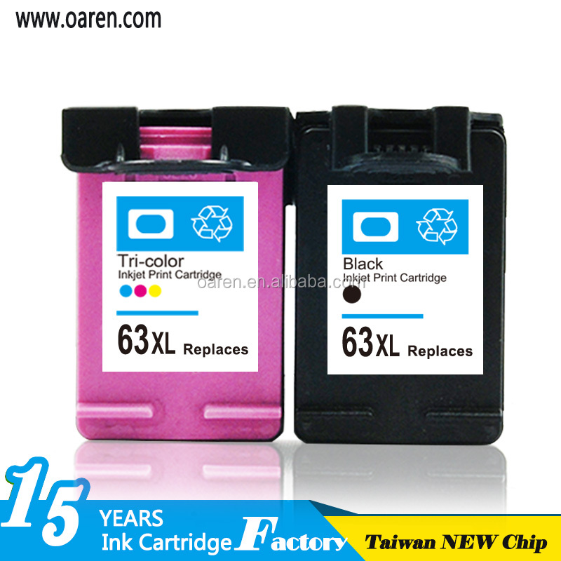 Replacement for Consumables Printer ink cartridge for hp63 xl auto reset chip ink cartridge for hp 63 xl with ink level