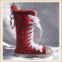 Hot selling long boot shoes keychain with rhinestone