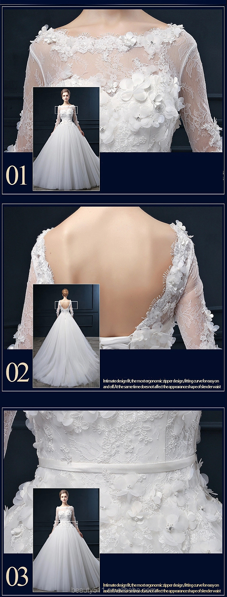 Latest Design Appliqued Flowers A-line Scoop Long Sleeve Floor-length Bridal Gown Lace Wedding dresses WD1861