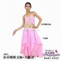 Belly dance costumes Indian Egypt dance dress slit shoulder peacock pattern piece Costume