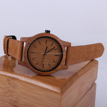High quality soft genuine leather strap durable quartz movement bamboo wooden watch