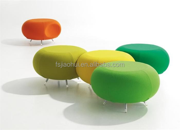 JH-C03 Chinese replica furniture Allermuir Pebble Upholstered Stool with stainless steel legs
