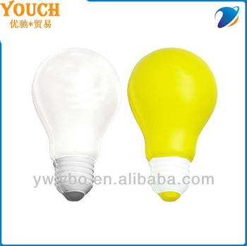 foam pu stress ball yellow light bulb shape stress ball custom stress ball