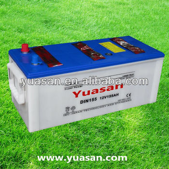 12V 155AH Yuasan Brand Heavy Duty Lead Acid Dry Charged Battery DIN155