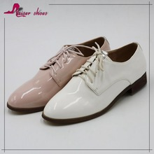 women lace up shoes woman men shoes high fashion white patent pu shoes